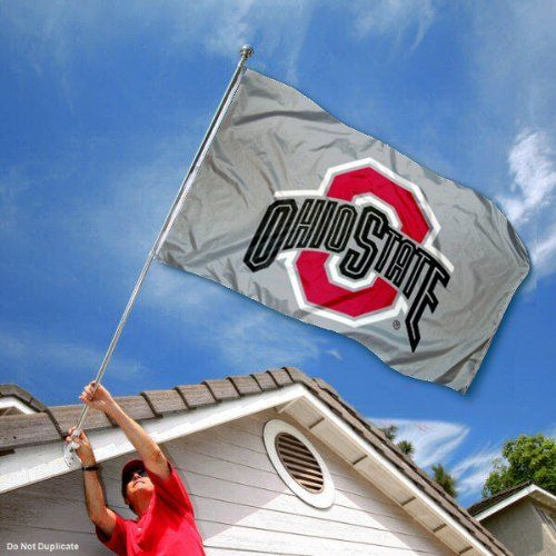 Ohio State Buckeyes OSU University Large Gray College Flag by College Flags and Banners Co.. $29.95. This Ohio State University Flag measures 3x5 feet in size, has quadruple-stitched fly ends, is made of durable 100% Nylon, and has two metal grommets for attaching to your flagpole. The screen printed Ohio State Buckeyes logos are Officially Licensed and Approved by Ohio State University and are viewable from both sides with the opposite side being a reverse image.