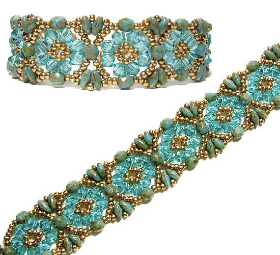 Batik Bracelet & Earrings beaded pattern tutorial by Deb Roberti