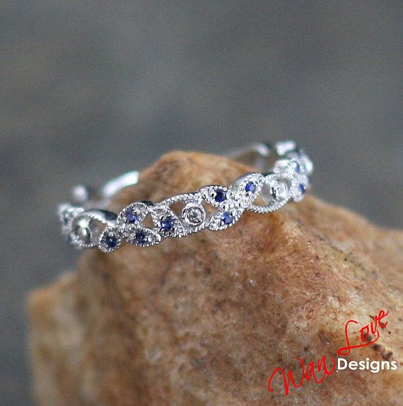 Sapphire & Diamond milgrained leaf Eternity Stackable Wedding Band ring 14k 18k White Yellow Rose Gold-Platinum-Custom made size-Engagement