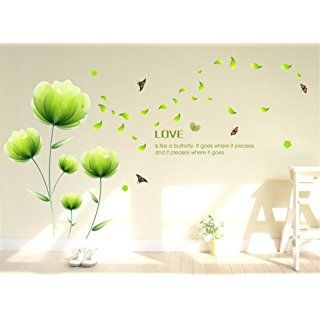 Ideal ufengke Sch ne Gr ne Blumen Wandsticker Wohnzimmer Schlafzimmer Entfernbare Wandtattoos Wandbilder
