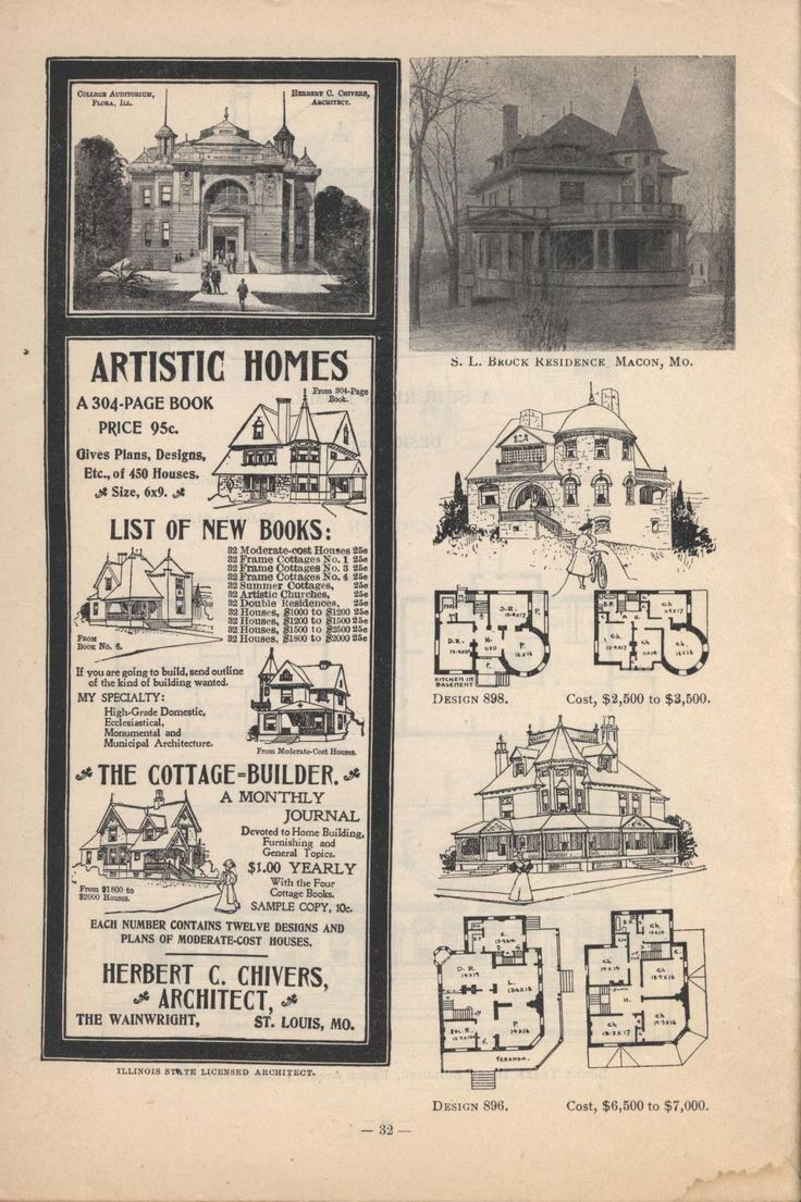 2369 best 1800 s 1940 s house plans images on pinterest vintage artistic city houses by herbert c chivers architect page 32 of