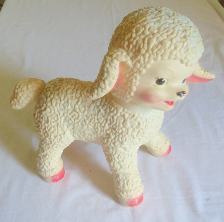 vintage 1961 sun rubber co lamb baby toy w roller ball feet pink 11 squeek i 39 ll never be too. Black Bedroom Furniture Sets. Home Design Ideas