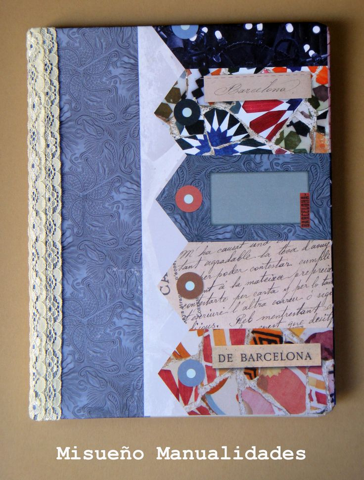 """Tapa delantera de una libreta grande handmade, forrada con papel scrap """"Gaudi"""" (a la venta en www.misuenyo.com).  www.misuenyo.com / www.misuenyo.es"""