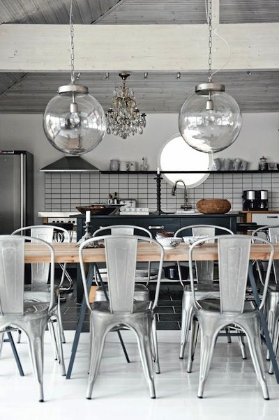 Modern Design: Scandinavian Dining/Kitchen, Open Floor Plan...NOTE: Restored Antique Chandelier and Custom Pendant dropped lighting fixtures, porthole window directly located above Kitchen sink. I can do without the chairs though.