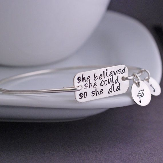 She Believed She Could So She Did Bangle Bracelet Personalized in Sterling Silver Graduation Gift by georgiedesigns