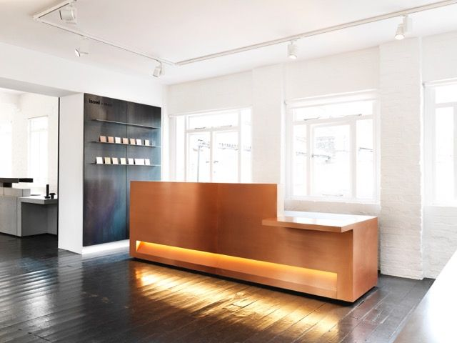 Blok Modular Reception Desk In Copper From The Isomi In