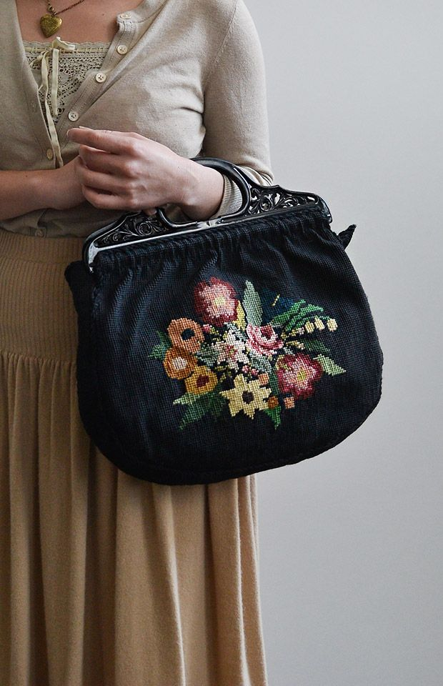 vintage 1940s black floral tapestry bag / Adored Vintage