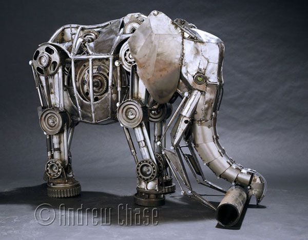 sculptures made out of automobile transmission parts, electrical conduit, plumbing parts and sheet steel