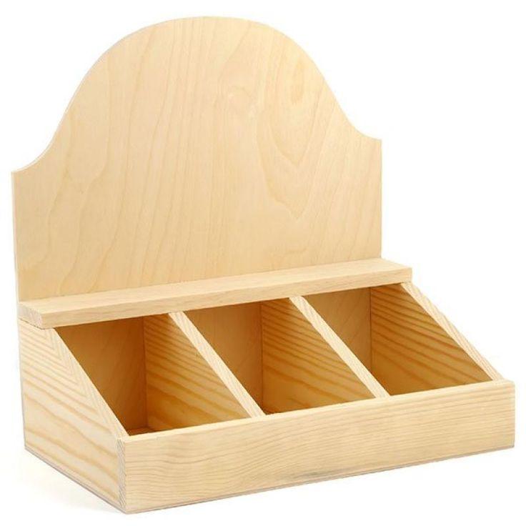 Заготовка деревянная  арт.БН.307  Коробка под чай с 3-мя делениями 30х18.5х31