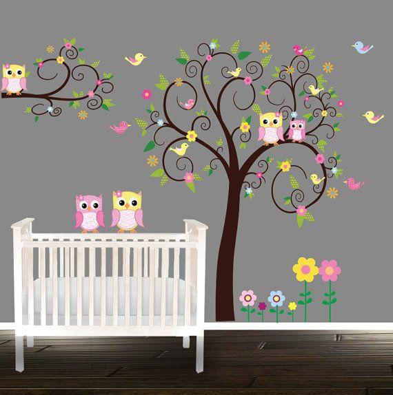 Floral owl etiqueta etiquetas engomadas de la por BeautifulWalls