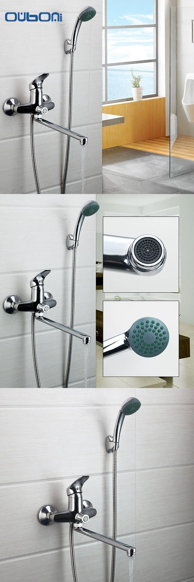 [Visit to Buy] RU New Arrival Bathroom Shower Faucet Bath Faucet Mixer Tap With Hand Shower Head Shower Faucet Set Wall Mounted #Advertisement