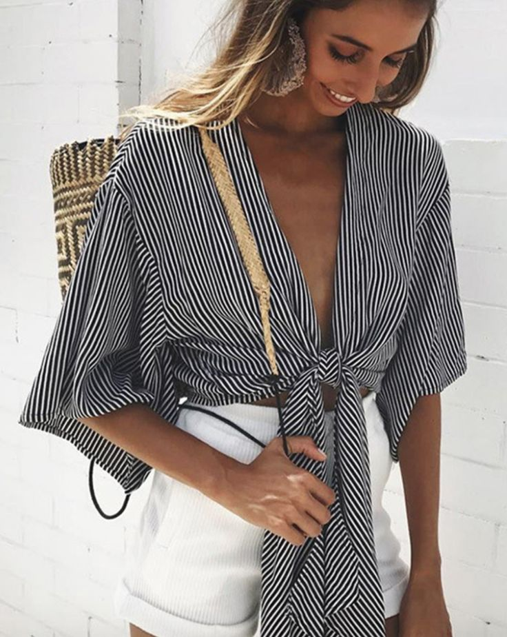 Macie Striped Tie Top