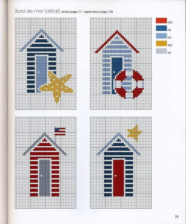 Cross Stitching beach-houses ocean / Kreuzstich Strandhäuser Meer