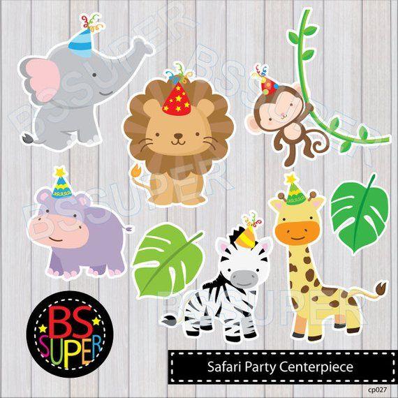 Printable Safari Animals Centerpieces Party Animals Birthday Party Jungle Cake Topper Table Decor Safari Party Decorations DIY Digital 0163