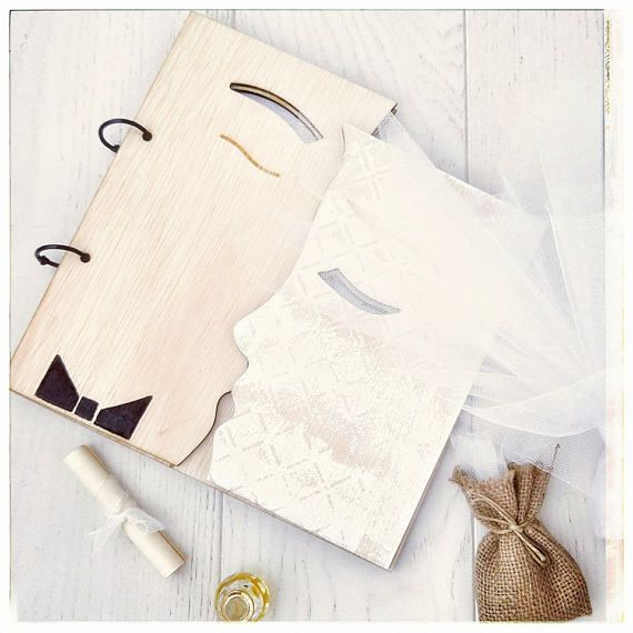 Guestbook The Kiss Wooden Wedding Guestbook Layered