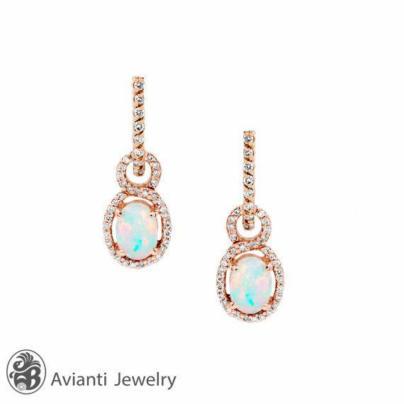 Opal Earrings, Opal and Diamond Earrings, 14 Karat Rose Gold Opal Earrings, October Stone,Earrings with Opal and Diamonds    EAR01775