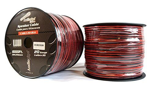 Two Rolls 20 Gauge 1000' Speaker Zip Wire Copper Clad Red Black 12V Audio Cable  Audiopipe 2 Conductor Red/Black Speaker Wire 20 Gauge - 1000ft Wire  THIS IS NOT AWG AMERICAN WIRE GAUGE  Stranded 2 Conductor Copper Clad Aluminum  Use this with any 12 Volt or home project  Rated 6 to 80 Volts
