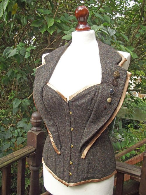 Tweed Corset (with collar).  By LyndseyBoutique on Etsy: http://www.etsy.com/listing/82093851/tweed-corset