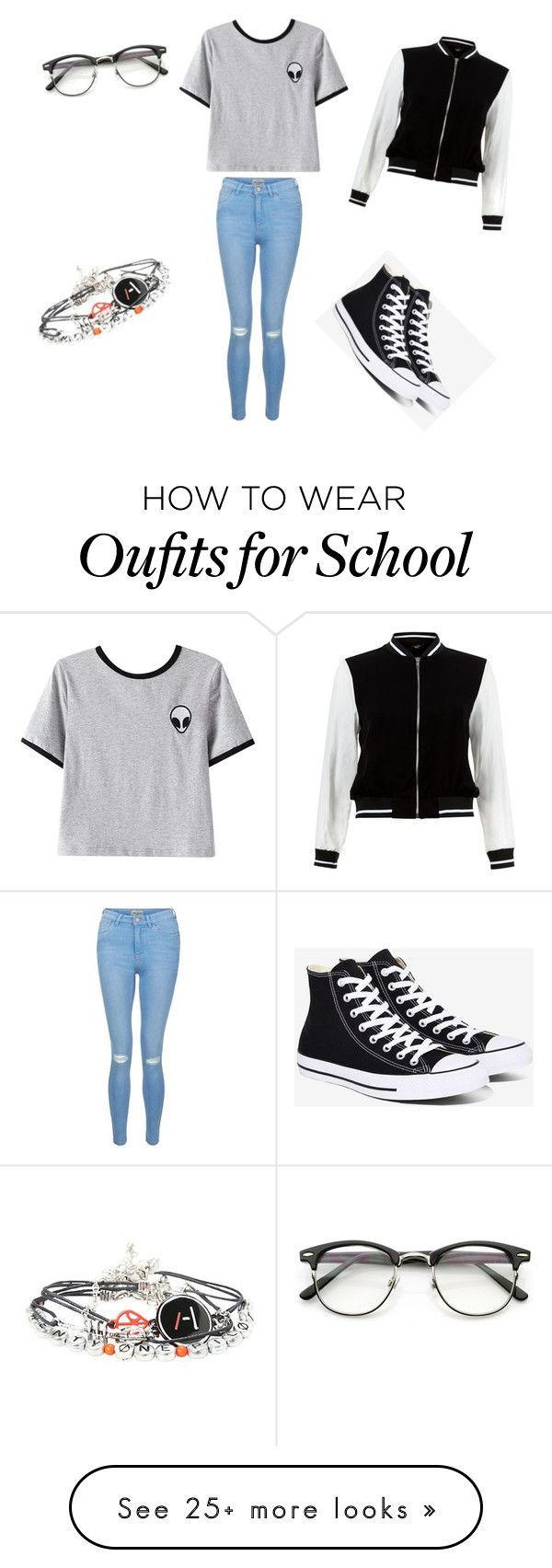 """School outfit"" by nika-rancigaj on Polyvore featuring New Look, Chicnova Fashion and Converse"