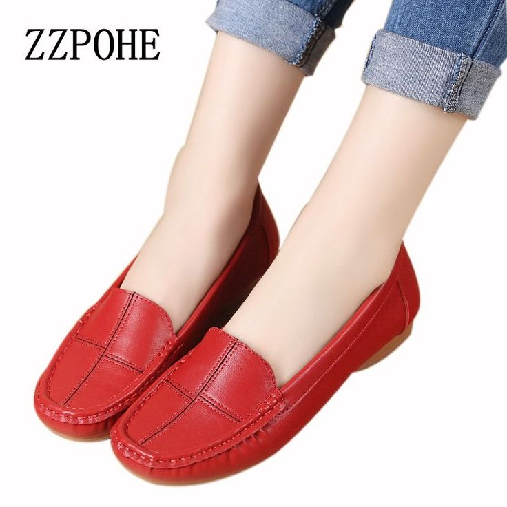 15.04$  Buy here - ZZPOHE leather shoes middle-aged mother shoes Women Slip on Casual shallow mouth flat Shoes soft bottom new work shoes Plus Size   #magazine