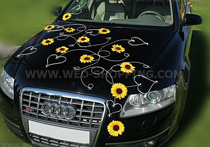 Sunflowers and hearts   - wedding car decoration - great for small funny cars and as shown for big limo.