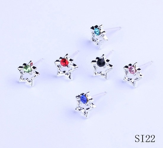 $1.06  11mm Mixed Color Star Alloy Rhinestone Earrings Stud Jewelry #Eozy