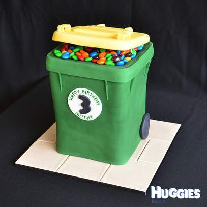 My 3yr old son is obsessed with garbage trucks and garbage bins. He spends all day filling up his little wheelie bins and emptying them with his toy garbage trucks. So when I asked him what cake he wanted for his 3rd birthday, it came as no surprise that he wanted a garbage bin. And not just any garbage bin, it had to be a yellow one because he loves putting out the recycling! It's a chocolate mud cake with vanilla flavoured green fondant icing. I couldn't fill it with rubbish so I used his…