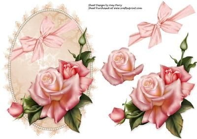 Beautiful Pink Rose topper on Craftsuprint designed by Amy Perry - Beautiful Pink Rose Topper - Now available for download!