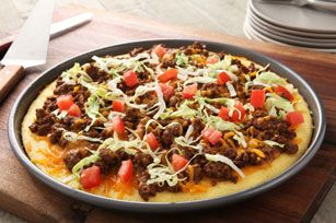 Just four ingredients. Just 30 minutes. Yup. Our Taco Cornbread Pizza really is just that simple to make. Enjoy!
