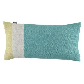 Eloise Teal Cushion: The Eloise Teal cushion has a soothing palette of teal, sage and pale grey. Made with warming luxury lambswool then handbrushed for extra softness. Comes complete with a duck feather filled cushion pad.