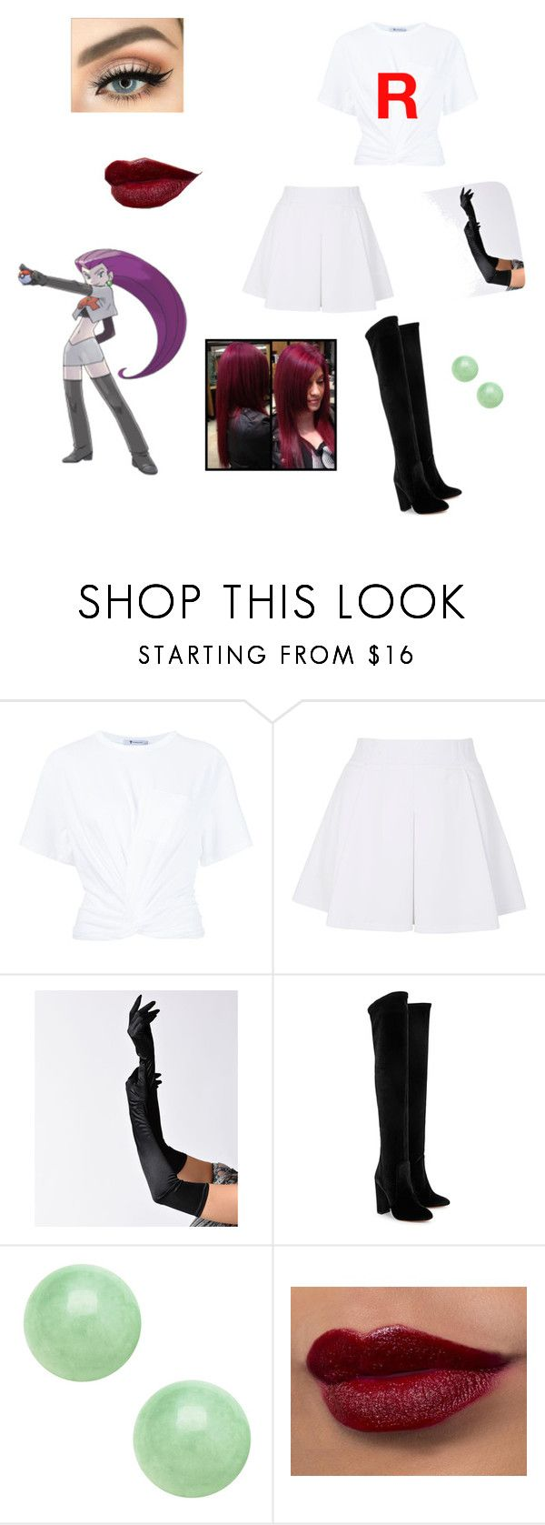"""""""Jessie team rocket"""" by moodydee ❤ liked on Polyvore featuring T By Alexander Wang, Topshop and Aquazzura"""