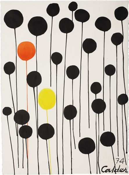 Alexander Calder, Red and Yellow Among Blacks, 1974  Would look great with stringer and beads!