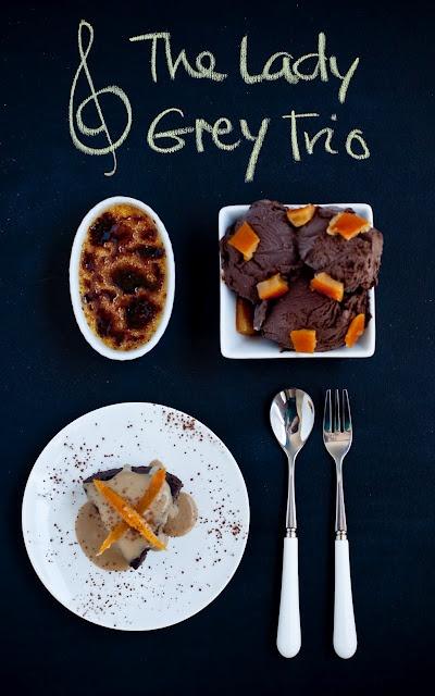 3 Lady Grey Recipes: Creme Brulee, Ice Cream and Chocolate CakeChocolates Cake, White Chocolates, Grey Trio, Assam Teas, Lady Grey, Teas Cheesecake, Chocolates Desserts, Gluten Free, Creme Brulee