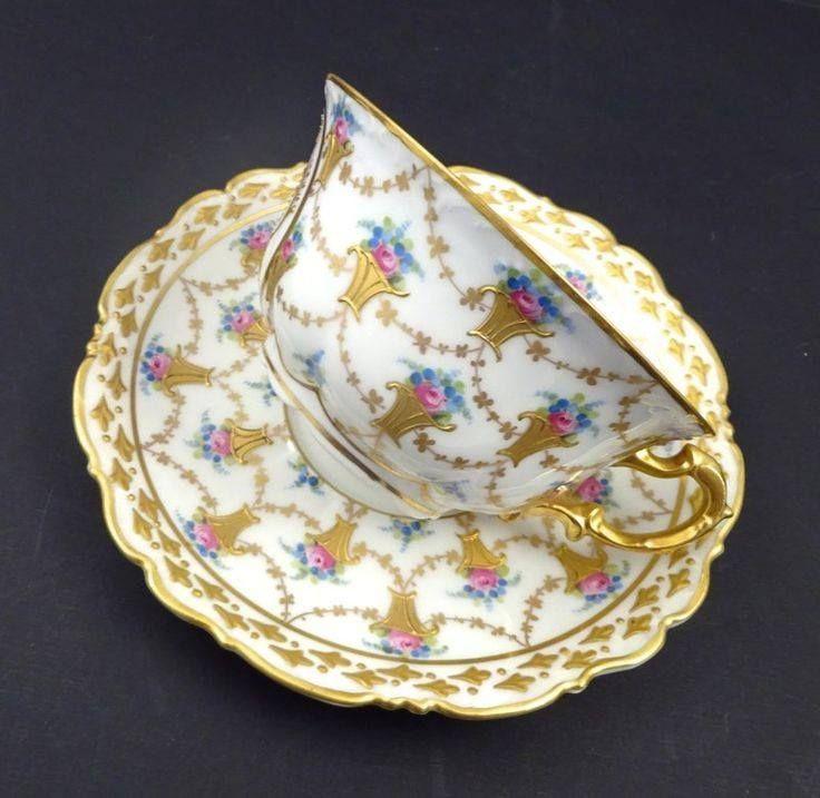 Antique Carl Thieme, Dresden Tea Cup & Saucer