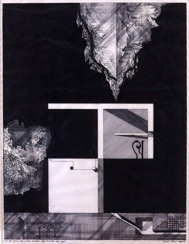 """danzarelarchitettura:  """"Ciò che resta del mobile orientale dopo l'assalto del sogno"""", Franco Purini, 1991, inchiostro su carta da lucido 71x53cm."""