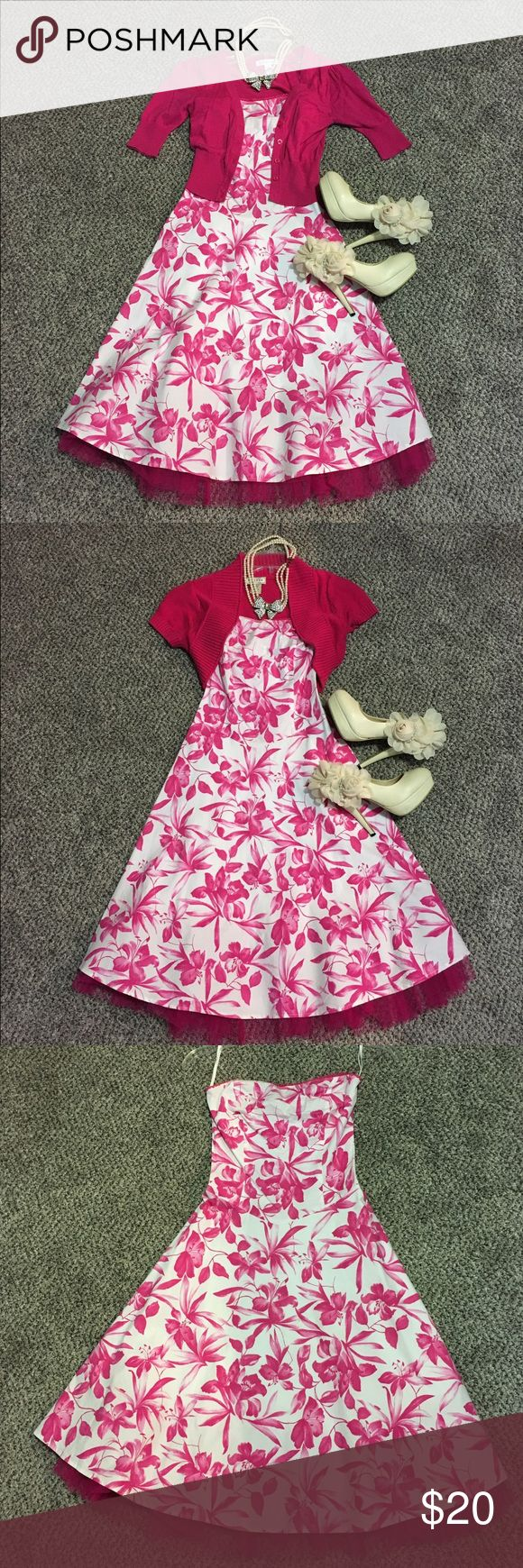 Floral dress. Includes 2 hot pink blazers!! Super cute Pink and white floral summer dress. Knee-length. I am including both hot pink blazers Dresses Mini