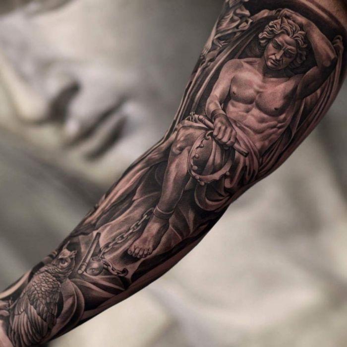 Engel mann unterarm tattoo Tattoo Arm