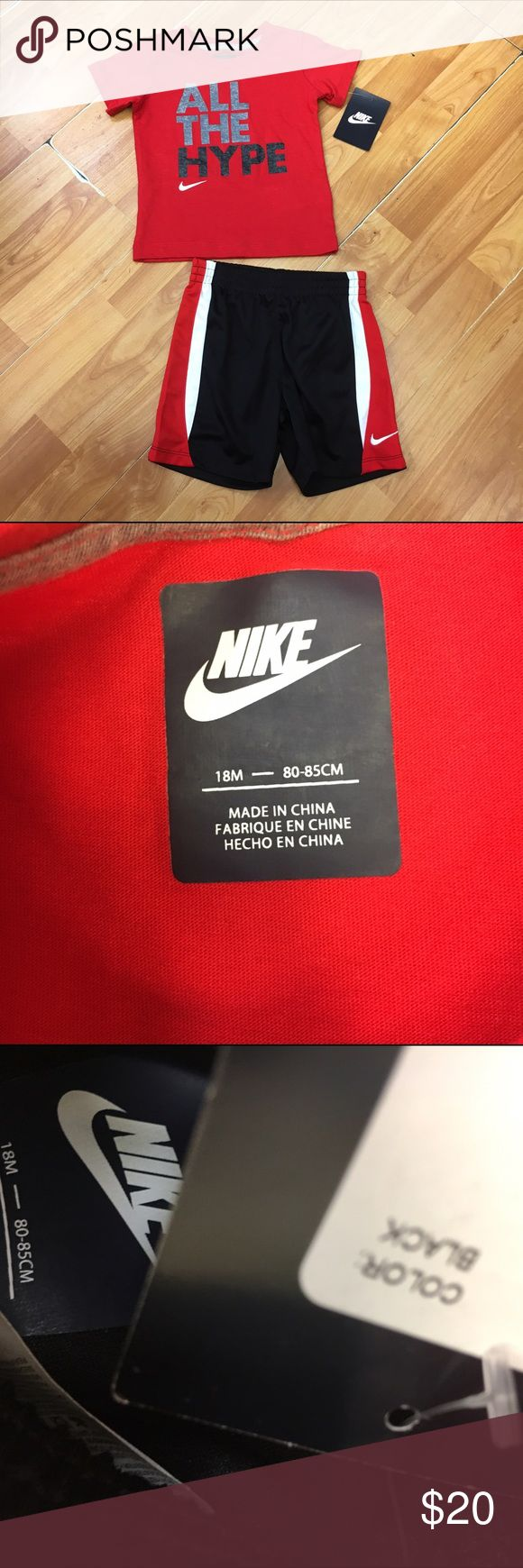 """Nike 18 Mo Red Black Outfit All the Hype NEW NWT Nike 18 Mo Red Black Outfit All the Hype NEW NWT   Super cute!  Tee says """"All the Hype"""" and shorts are basketball style.  Elastic waist.  New with tags.  #new #nwt #red #black #white #outfit #set #bundle #bundles #allthehype #athleticapparel #athleticwear #basketballshorts Nike Matching Sets"""