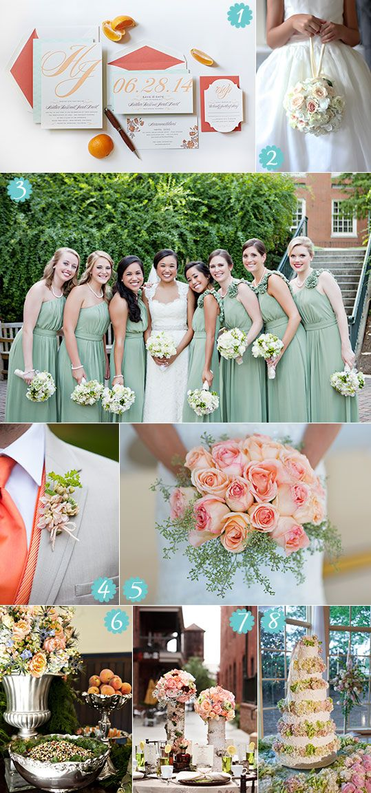 I really like this green for the bridesmaids