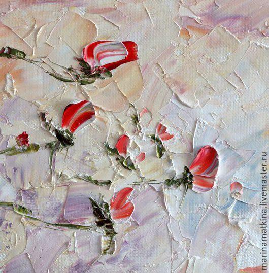 Яркая картина маслом яркие красные алые розы на ветру купить москва питер интерьера спальни гостиной коттеджа  дома картина для интерьера в стиле кантри прованс хай-тек минимализм Марина Маткина Пермь