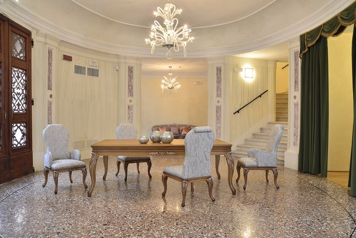 """Alice collection. Italian Design by #Venetasedie. Alice chair, armchair and table, shot in Badia Polesine, """"The little Fenice"""" Theatre, so similar to the famous """"Fenice"""" in Venice. Beautiful & classic style."""
