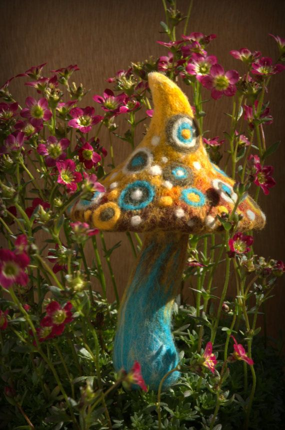 A happy felted mushroom Made to order by Petradi on Etsy, $47.00