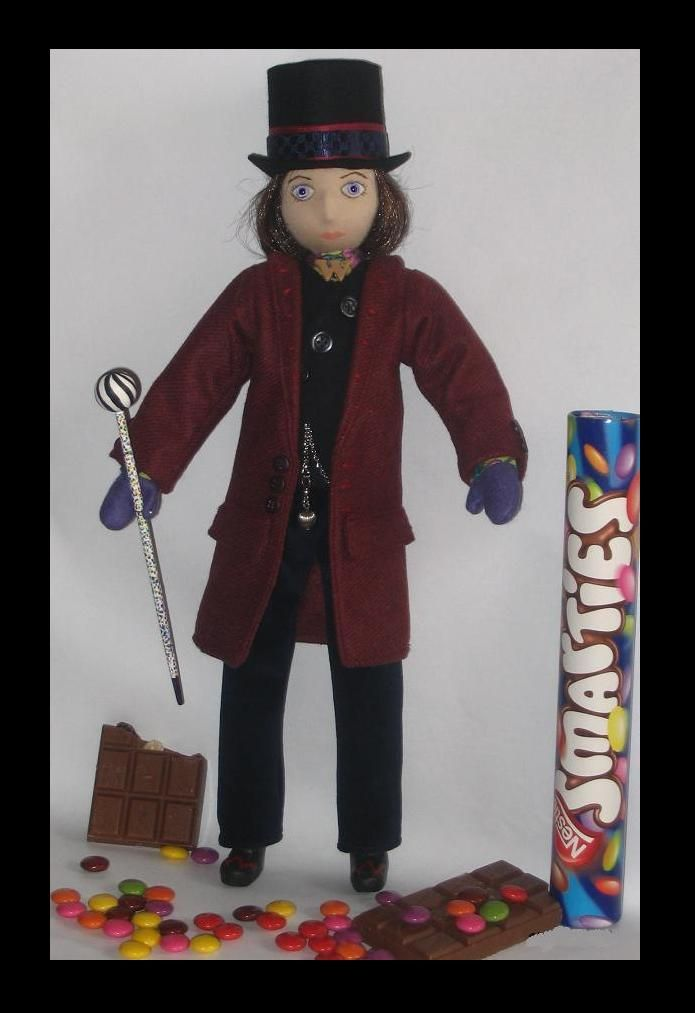 Willie Wonka uit de film Charlie and the Chocolat factory. pop creatie door Sheila.