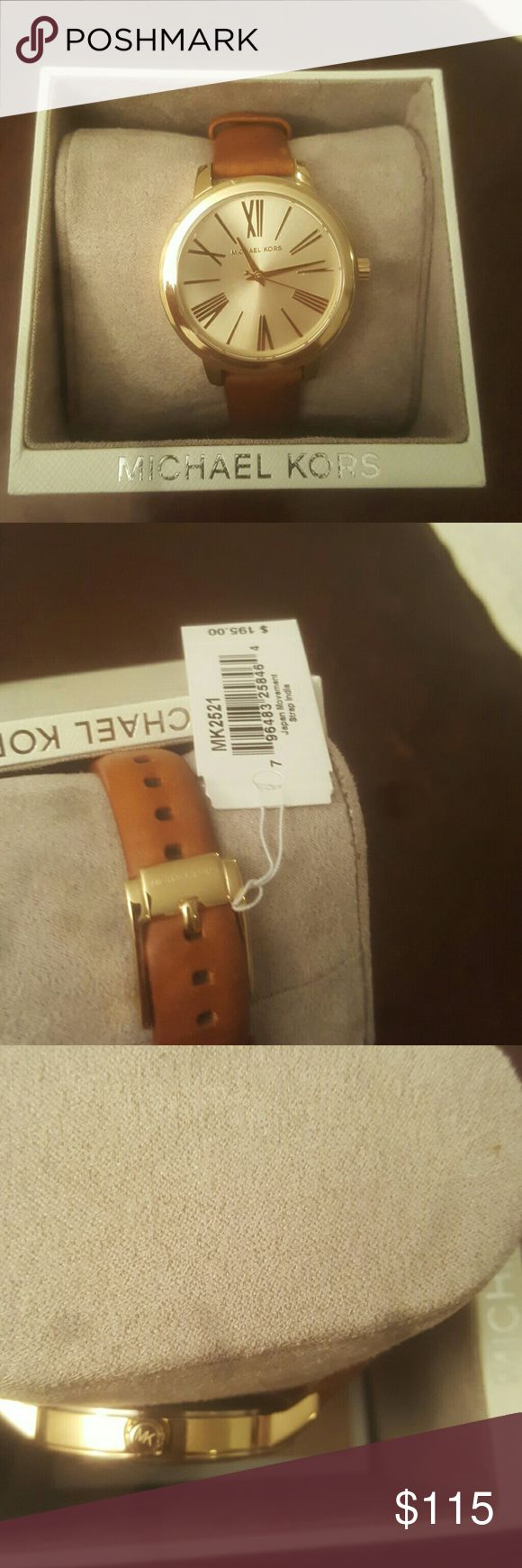 NWT Michael Kors Womens watch leather strap Brand new never worn. Cover has plastic on it as well as on the backplate. Price tag still attached. 100% authentic. Must Go asap!!! Michael Kors Accessories Watches