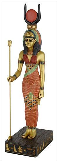 """""""Isis is the daughter of Geb and Nut. She is the twin sister of Nepthys (the sister-wife of Set). Her brother Osirus is her husband, and after his death, she conceives the child Horus the Younger with him using magical means. Isis is a goddess of magic and healing. She is typically depicted as a human with a throne-shaped headpiece, as she is the """"Queen of Heaven."""" """""""