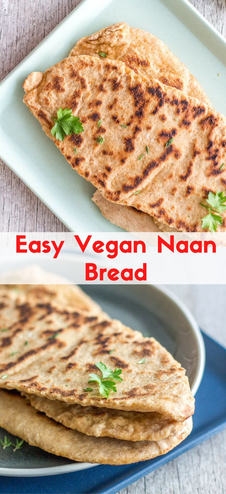 Easy Vegan Naan Bread, which is super simple, yet flavourful. Serve them with a dahl, bean stew, or make a sandwich with hummus and falafels. Healthy vegan recipes|healthy| vegan| dinner| lunch| vegan dinner recipes| recipes| vegetarian| The Mostly Healthy | baking