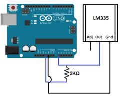 come collegare il sensore di temperatura LM335 all'Arduino