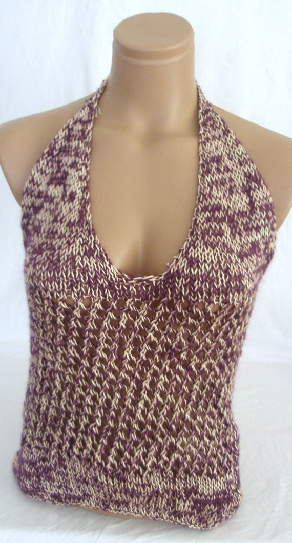 Hand knitted low back cream and purple blouse by Arzus on Etsy, $39.90Hands Knits, Purple Blouses, Labor Varia, Knits Low