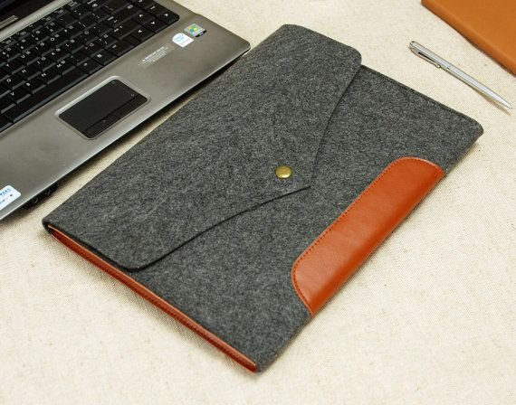 "Macbook Sleeve Macbook Case Felt with Genuine Leather 15"" Macbook Pro Retina 13'' 11'' Macbook Pro Air Laptop Cover E1137"