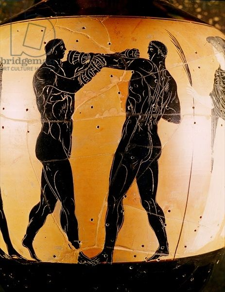 Black-figure Panathenaic amphora depicting a boxing contest, c.336 BC (pottery), Greek, (4th century BC) / British Museum, London, UK / The Bridgeman Art Library